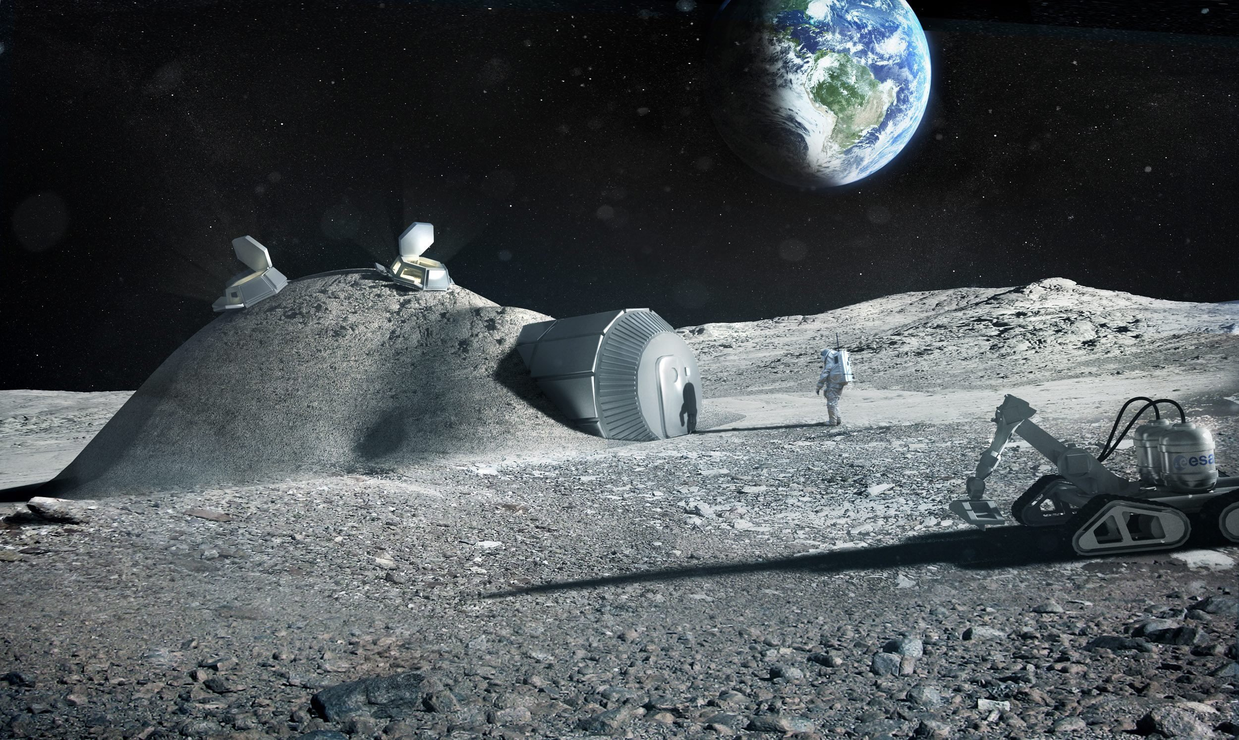 Künstlerische Darstellung einer Mondbasis am 17. Oktober 2015 herausgegeben von der ESA. Nach Ansicht der europäischen Raumfahrtagentur wäre sie sehr viel einfacher aufzubauen, wenn dafür ein 3D-Drucker und Materialien vom Mond genutzt werden könnten.
