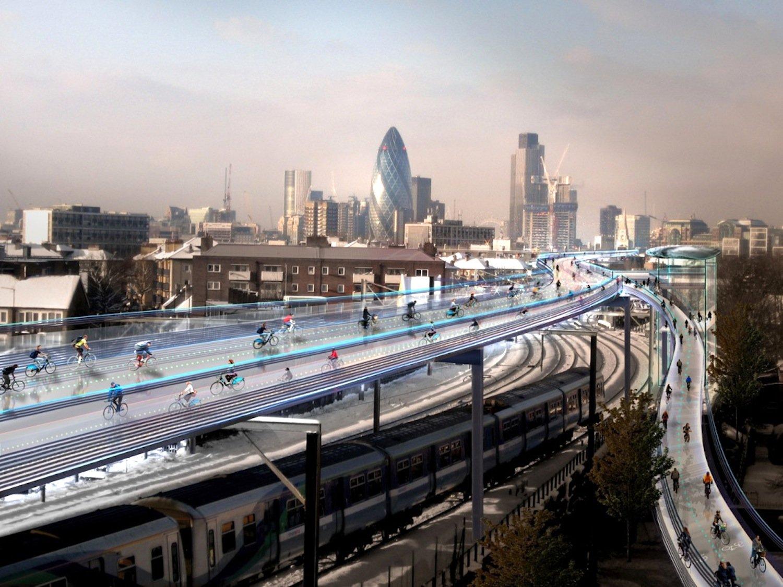 Nicht aufs Wasser, sondern in die Luft will Stararchitekt Norman Foster den schnellen Radverkehr in London verlegen. Er hat eine Hochautobahn namens SkyCycle für Radfahrer quer durch London vorgeschlagen, die an ihren Rändern sogar bebaut werden kann.