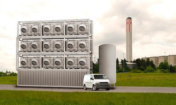 """Climeworks, ein Start-up der ETH Zürich, will künftig eine Gewächshausanlage mit reinem CO<custom name=""""sub"""">2</custom> versorgen. Das Kohlendioxid wird direkt aus der Umgebungsluft herausgefiltert. Durch die Zugabe von CO<custom name=""""sub"""">2</custom> in die Luft des Gewächshauses soll das Gemüsewachstum um 20 % gesteigert werden."""