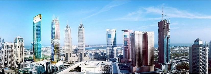 Hochhaus in Dubai mit Regenwald und Strand-Etagen