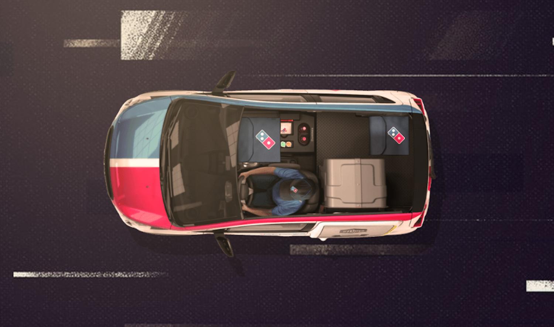Aufbau des DXP: Der umgebaute Chevy Spark ist ein Einsitzer. So ist genügend Platz für den Transport von 80 Pizzen.