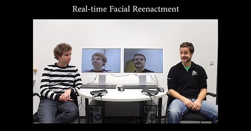 Obwohl die linke Person keine Miene verzieht, erscheint sie auf dem Bildschirm mit der Mimik der Person rechts.