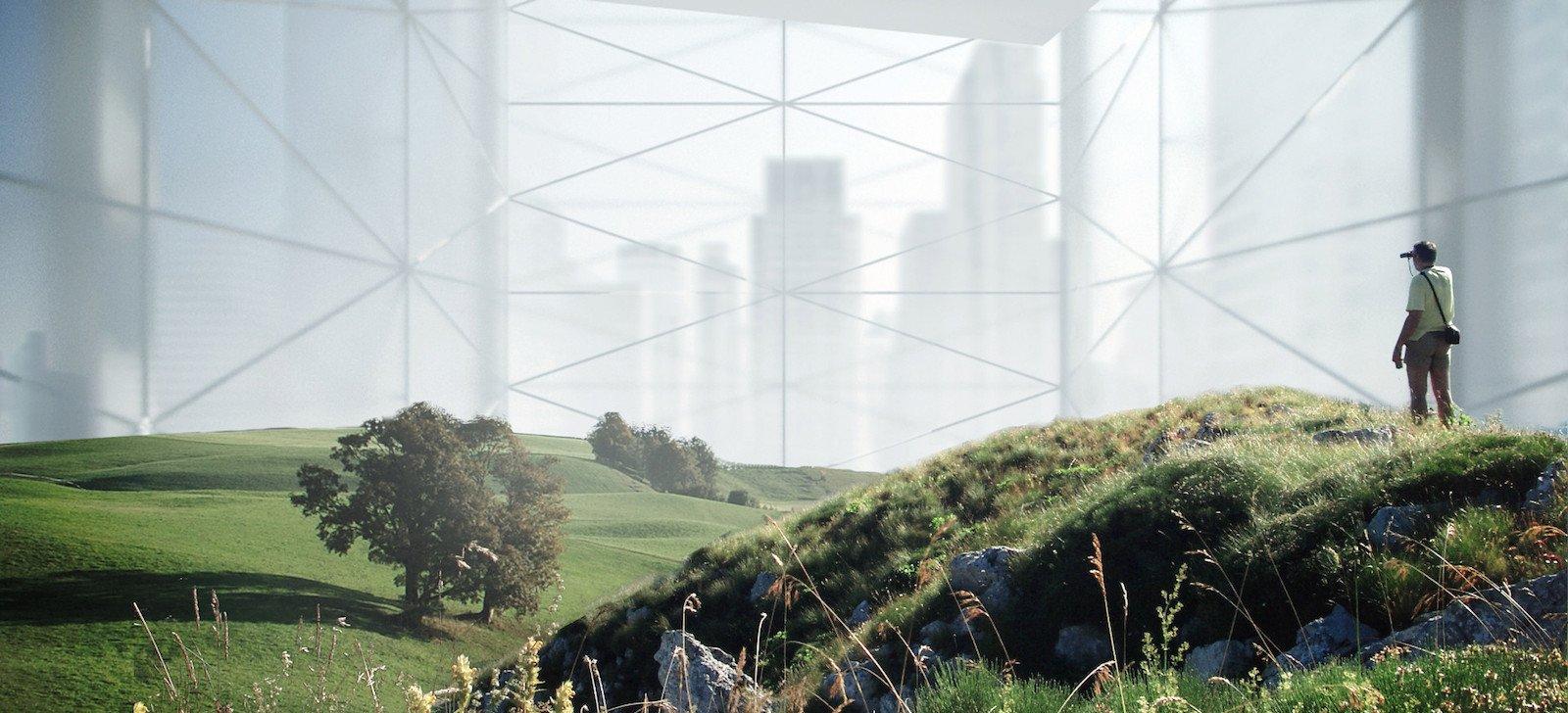 Spaziergang im Wolkenkratzer gefällig? So stellt sich das Architekturbüro Bomb die Zukunft vor – natürliche Landschaften verborgen inmitten eines riesigen Gebäudes.