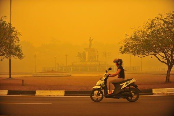 Gelber Dunst in Indonesien: Seit mehr als drei Monaten ist die Luft wegen wilder Feuer verschmutzt. Inzwischen werden Kriegsschiffe eingesetzt, um Gefährdete zu evakuieren.