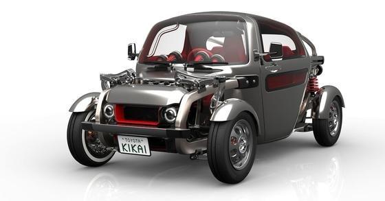 Ziemlich rustikal wirkt der Toyota Kikai: Motor, Achsen und Federn liegen offen. Der Fahrersitz ist in die Mitte gerückt.<strong></strong>