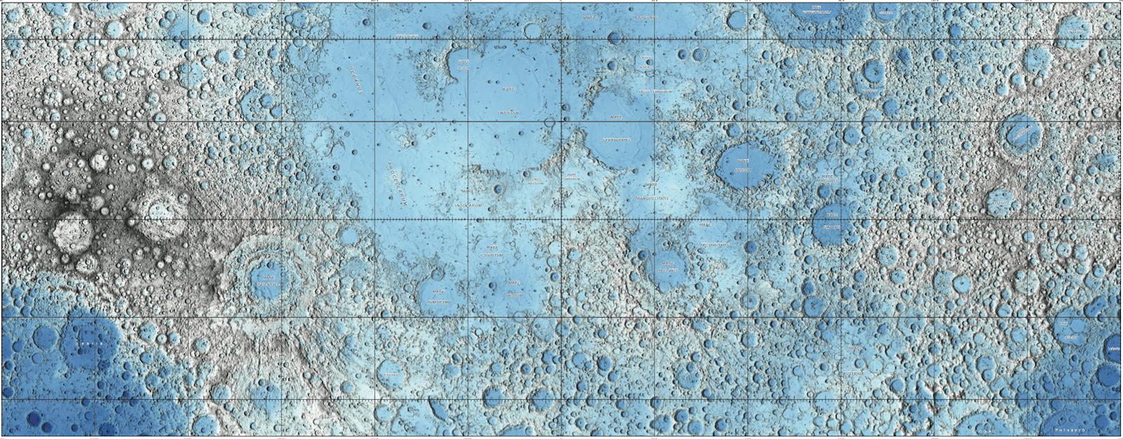 Ausschnitt aus der neuen topografischen Mondkarte: So farbenfroh hat man den Erdtrabanten wohl selten gesehen.