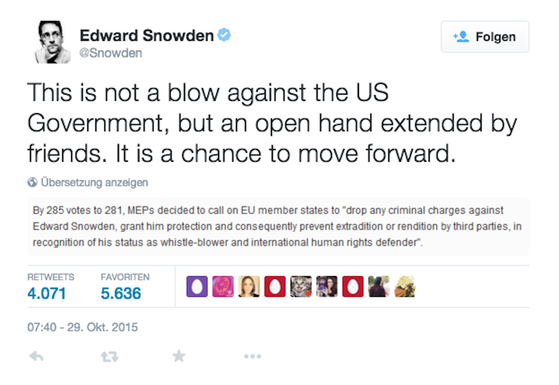 Tweet von Edward Snowden: Der Whistleblower freut sich über die von Freunden ausgestreckte Hand. Dadurch bestehe die Chance, voranzuschreiten.
