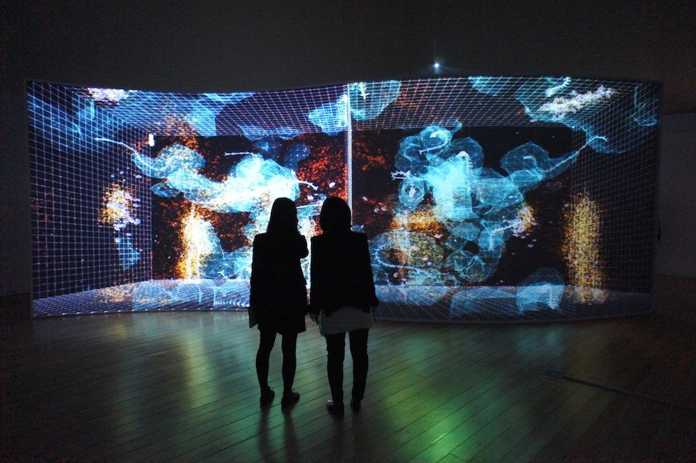 """""""Artificial Nature"""" gehört zu einem Forschungsprojekt der beiden Künstler Haru Ji und Graham Wakefield. In den dazugehörigen Installationen zeigen sie ein programmiertes digitales Ökosystem mit Organismen, die in einem endlosen Fluidum wachsen, verdauen, sich fortpflanzen und sterben. Diese """"künstliche Natur"""" ist keine Simulation, sondern gehorcht einer eigenen Logik."""