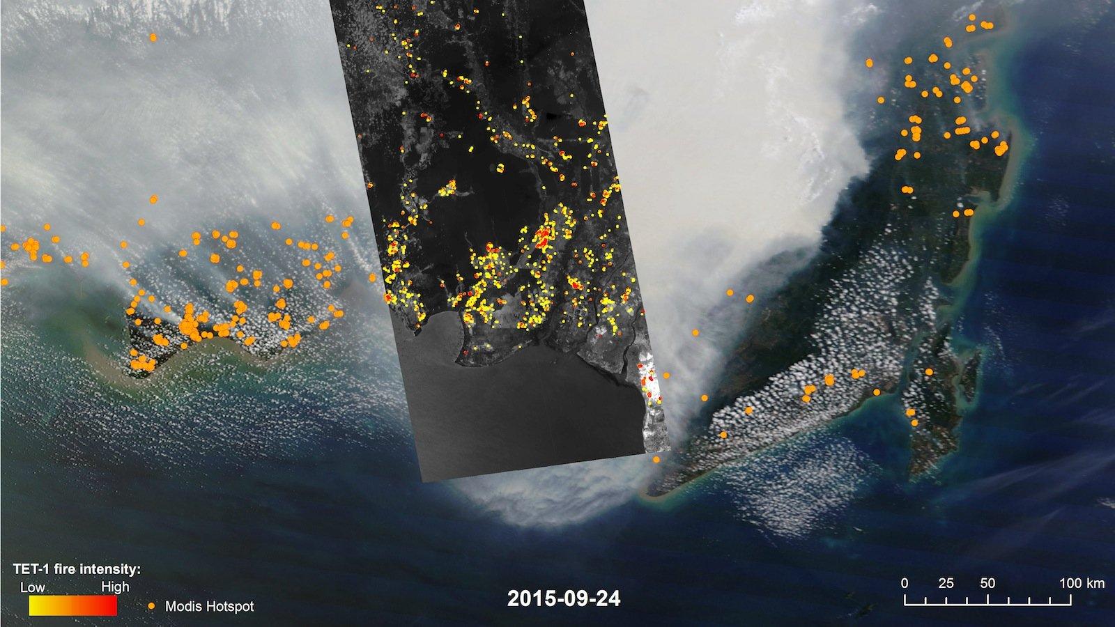 Die Bilder, die TET von irdischen Großbränden festhält, sind weitaus klarer als die der US-Kamera Modes. Das Bild zeigt deren Bilder (Streifen links und rechts) im Vergleich zu einer TET-Aufnahme (mittlerer Streifen).