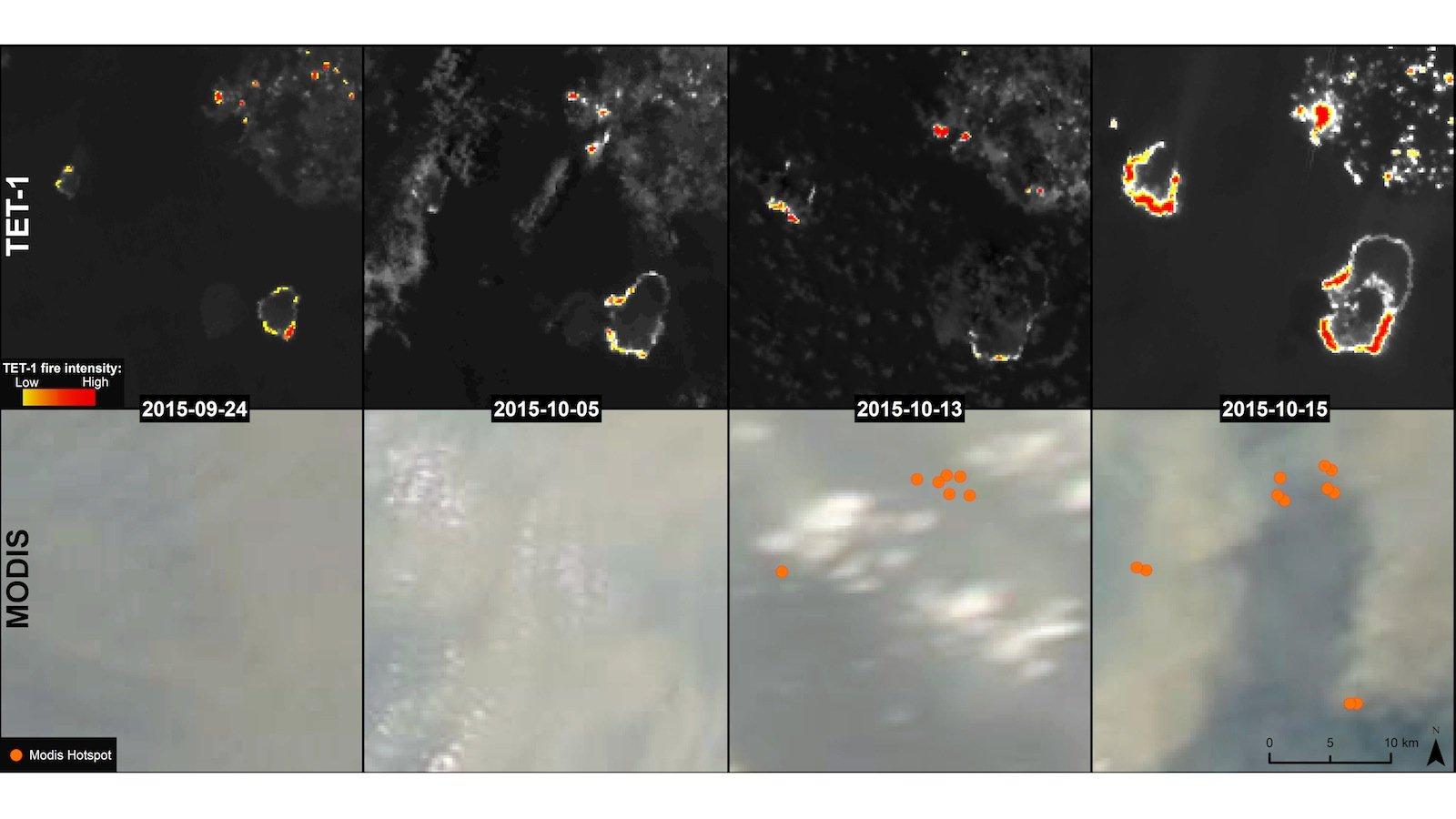 Zeitreihen können helfen, den Ursprung eines Brandes zu bestimmen und seine Ausbreitung abzuschätzen. Das Bild zeigt die Verbreitung von Torfbränden im Sebangau Nationalpark auf Borneo übe einen Zeitraum von f´drei Wochen. Oben die Bilder, die der DLR-Satellit TET gemacht hat, unten die des Modus-Instruments der Nasa.