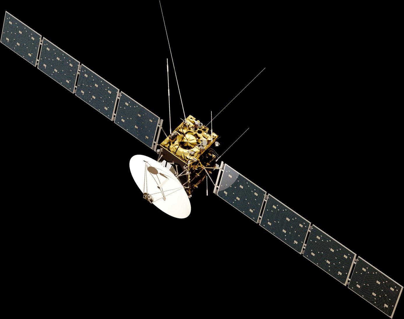 Für die Raumsonde Juice sind mehr als 25 Gravitationsmanöver vorgesehen. Dafür muss sieüber 3000 kg an chemischem Treibstoff mitführen.