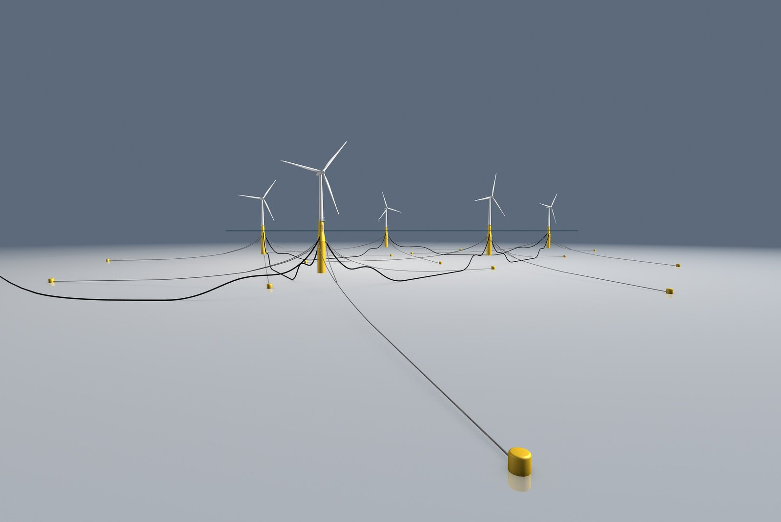 Die schwimmenden Windräder im Windpark Hywind werden über Stahlseile miteinander verbunden. Zugleich werden sie an Pfählen fixiert, die im Meeresboden verankert sind.