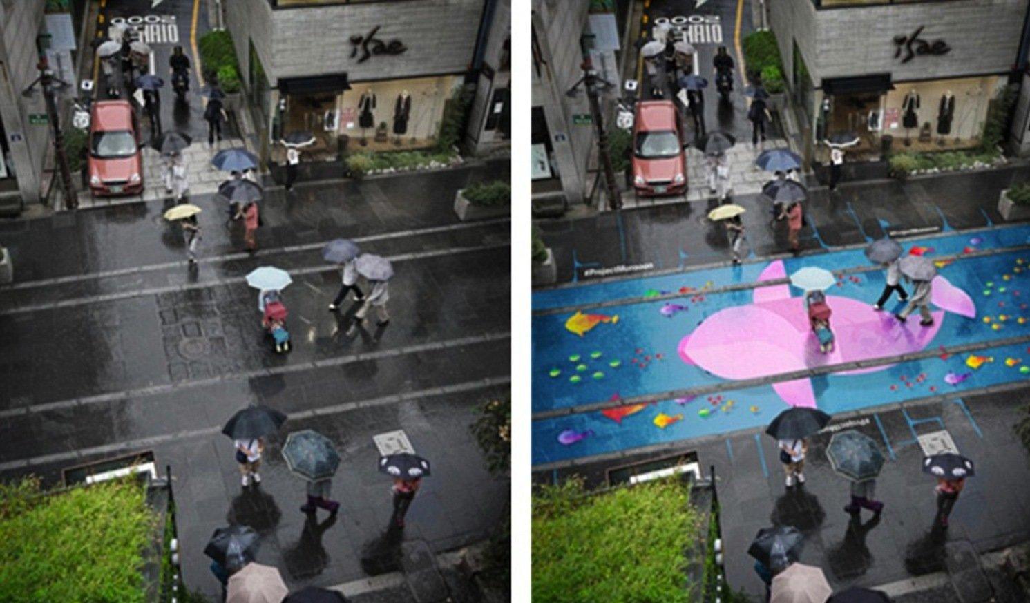 Die hydrochromen Farben werden nur im Regen sichtbar. Dann verwandeln sie graue Straßenzüge in farbenfrohe Bilder.