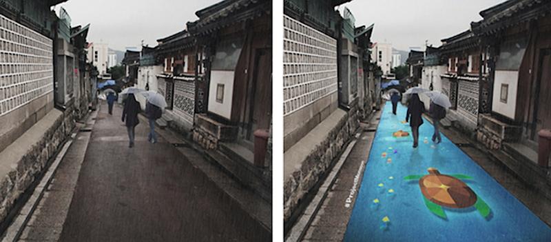 Bunte Bilder statt graue Straßen: Das Projekt Monsun soll die Bürger Seouls in der Regenzeit aufmuntern.