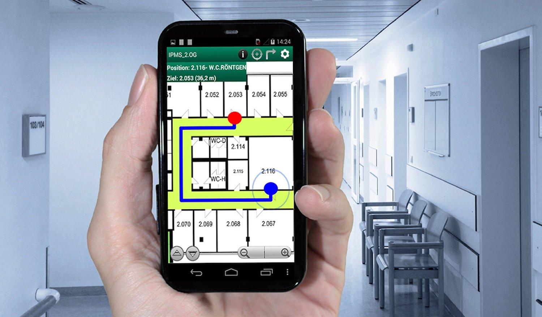 Navi-App der Fraunhofer-Forscher in Dresden: Die Software wertet die Signalstärke einzelner Wlan-Spots aus –das können beispielsweise Medizingeräte sein.