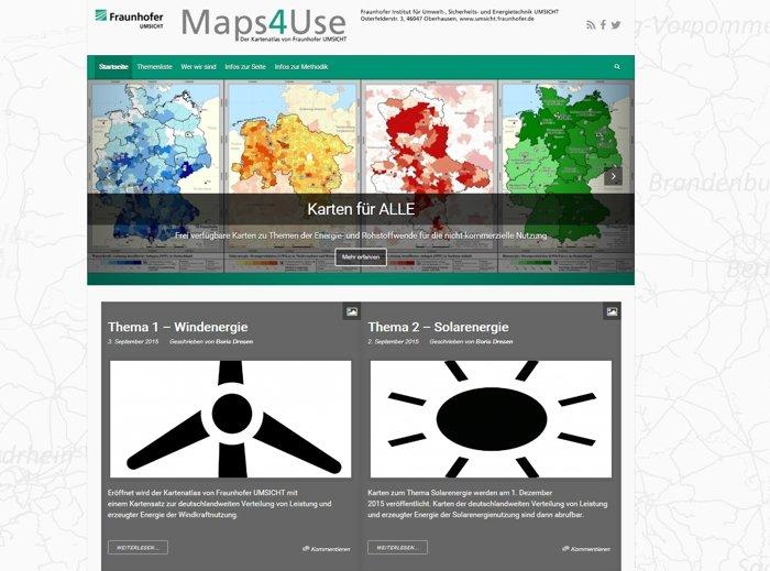 Maps4use: Kartenatlas zu Themen der Energie- und Rohstoffwende.