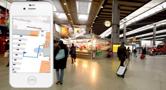 Gebäude-Navi von infsoft im Züricher Hauptbahnhof: Die Positionsbestimmung funktioniert mit 1200 Bluetooth-Sendern –sogenannten Beacons.<strong></strong>