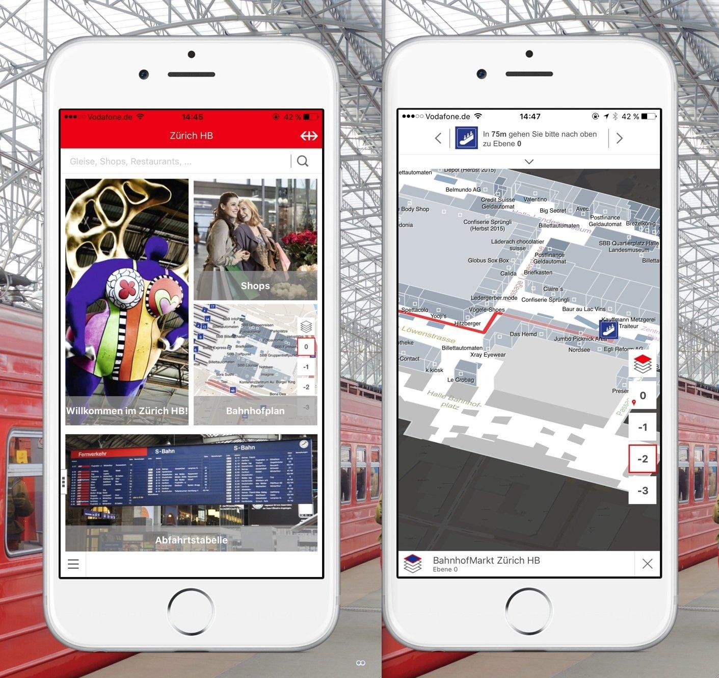 Fahrgäste können sich im Züricher Hauptbahnhof mit einer App des deutschen Software-Unternehmen infsoft orientieren.
