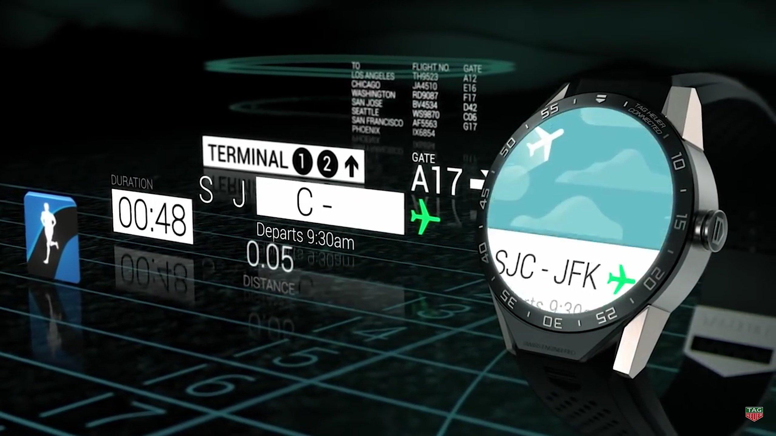 Wo ist der Weg zum Gate? Natürlich verfügt die TAG Heuer Connected auch über einen Navi, der den richtigen Weg zum Flugzeug weist.