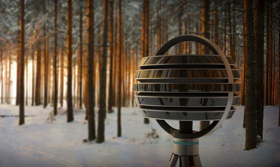 Die Filmkamera Lytro Immerge bei Aufnahmen in einem Wald: Hier bietet sich eine Schärfenverlagerung entlang der Baumreihen an. Der Kameramann kann auch später noch entscheiden, welchen Teil des Bildes er scharf zeigen will.