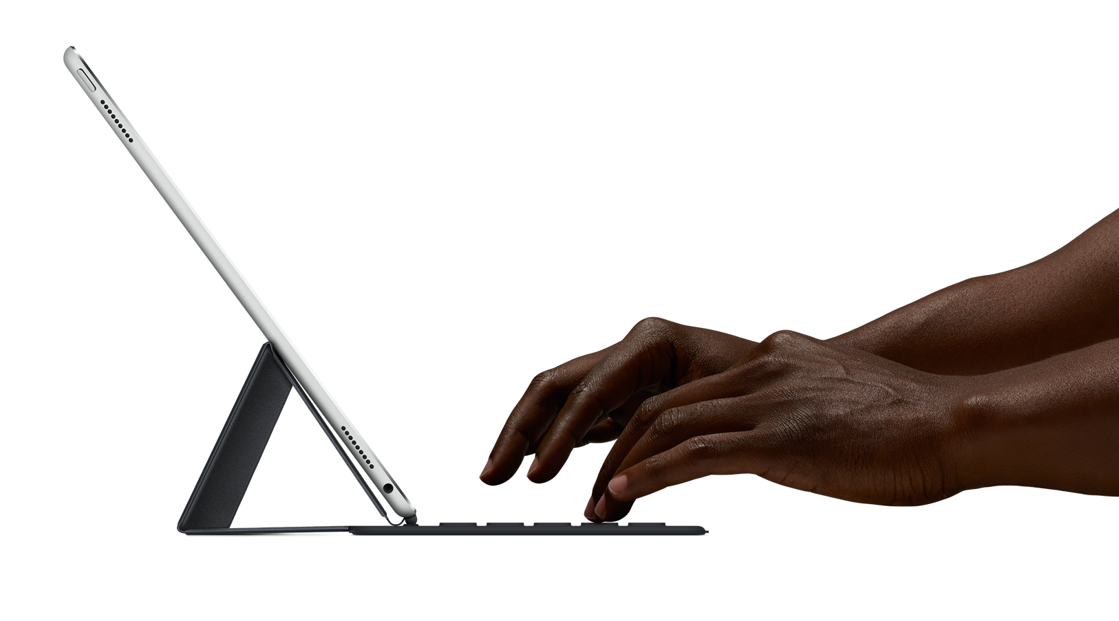 Die Tastatur ist nur 4 mm hoch und verbindet sich mit dem iPad über eine Lightning-Schnittstelle. Es gibt keine mechanische Verbindung.