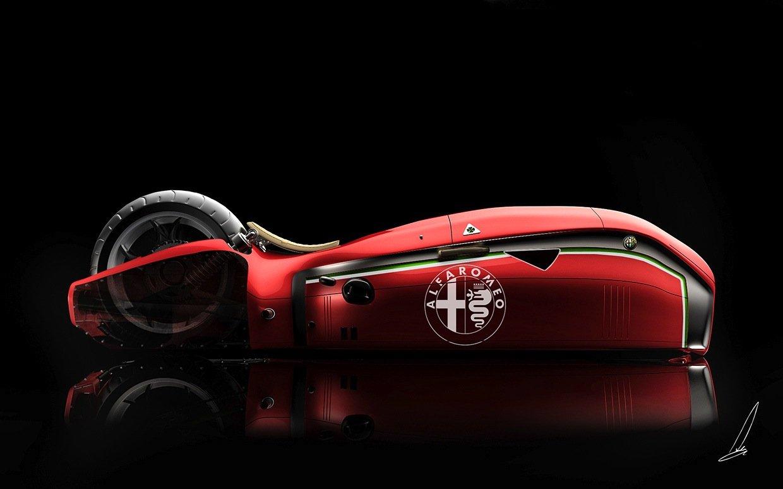 Entwurf der Alfa Romeo Spirito: Vorderrad und Lenkerstange stecken im riesigen abgerundeten Vorbau.