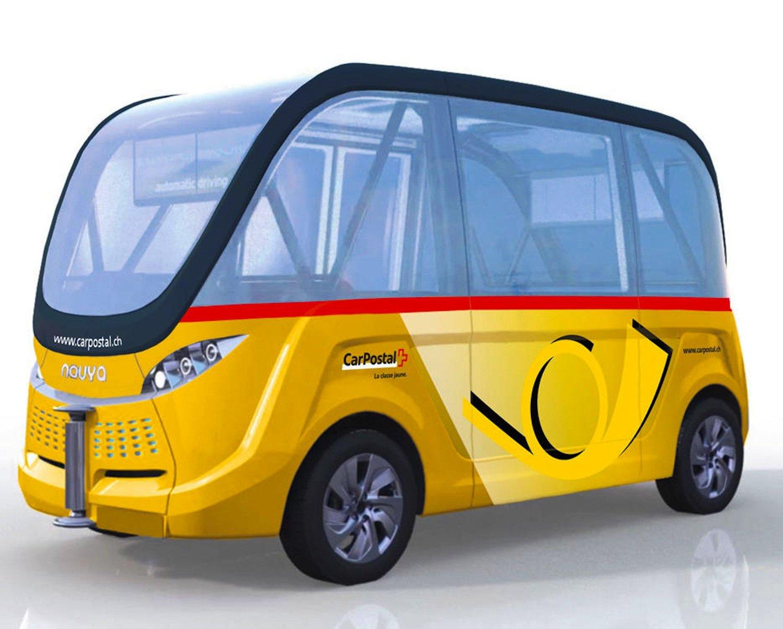 In der Schweiz wird der autonome Bus im Post-Look unterwegs sein. Doch noch fehlen die notwendigen Sonderbewilligungen.