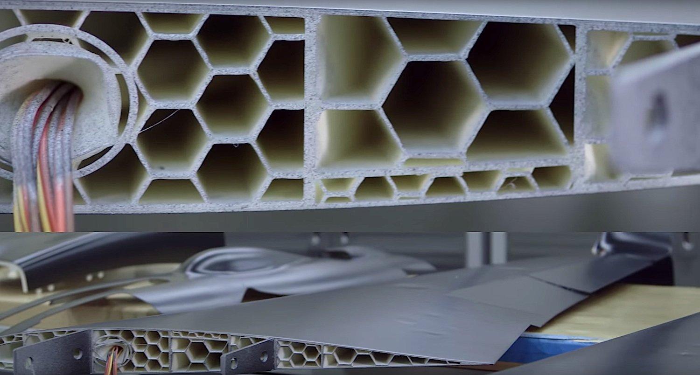 Innenleben des Flügels: Der 3D-Druck macht es möglich, eingeschlossene Hohlräume einzuplanen. Das sorgt für Stabilität und Materialersparnis.