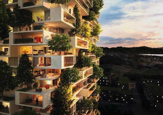 Einen Baum auf der eigenen Terrasse? Das bietet das grüne Hochhaus Tour de Cedres des italienischen Architekten Stefano Boeri.
