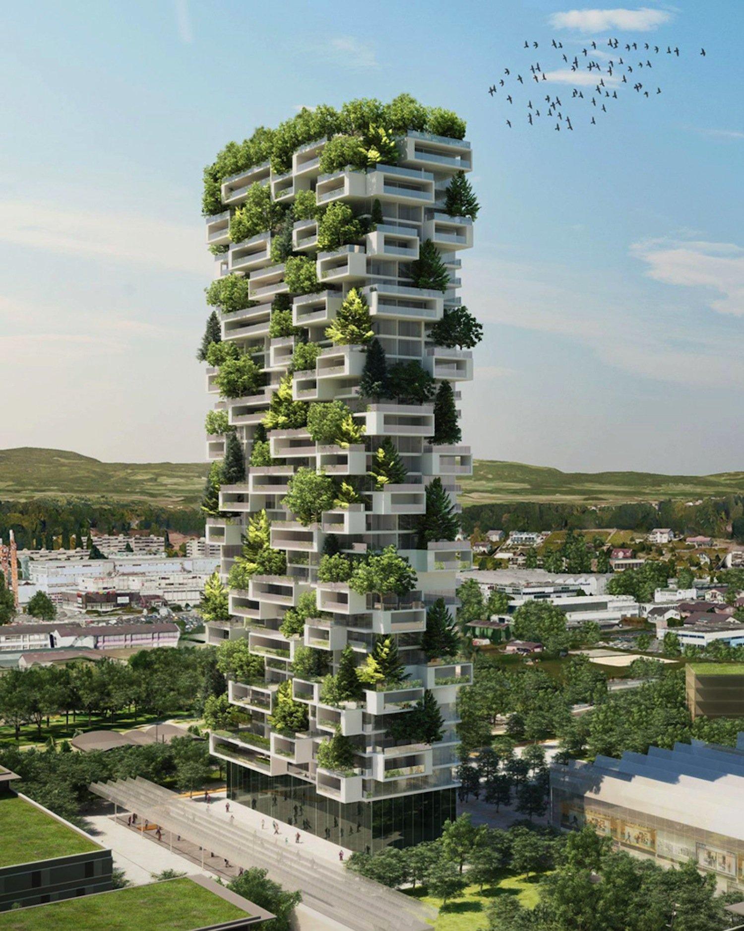 Das grüne Hochhaus von Stefano Boeri in Lausanne ist mit über 100 Bäumen bepflanzt. Auch dem Dach befindet sich ein Panorama-Restaurant mit Blick auf den Genfer See. Der Bau hat gerade begonnen.