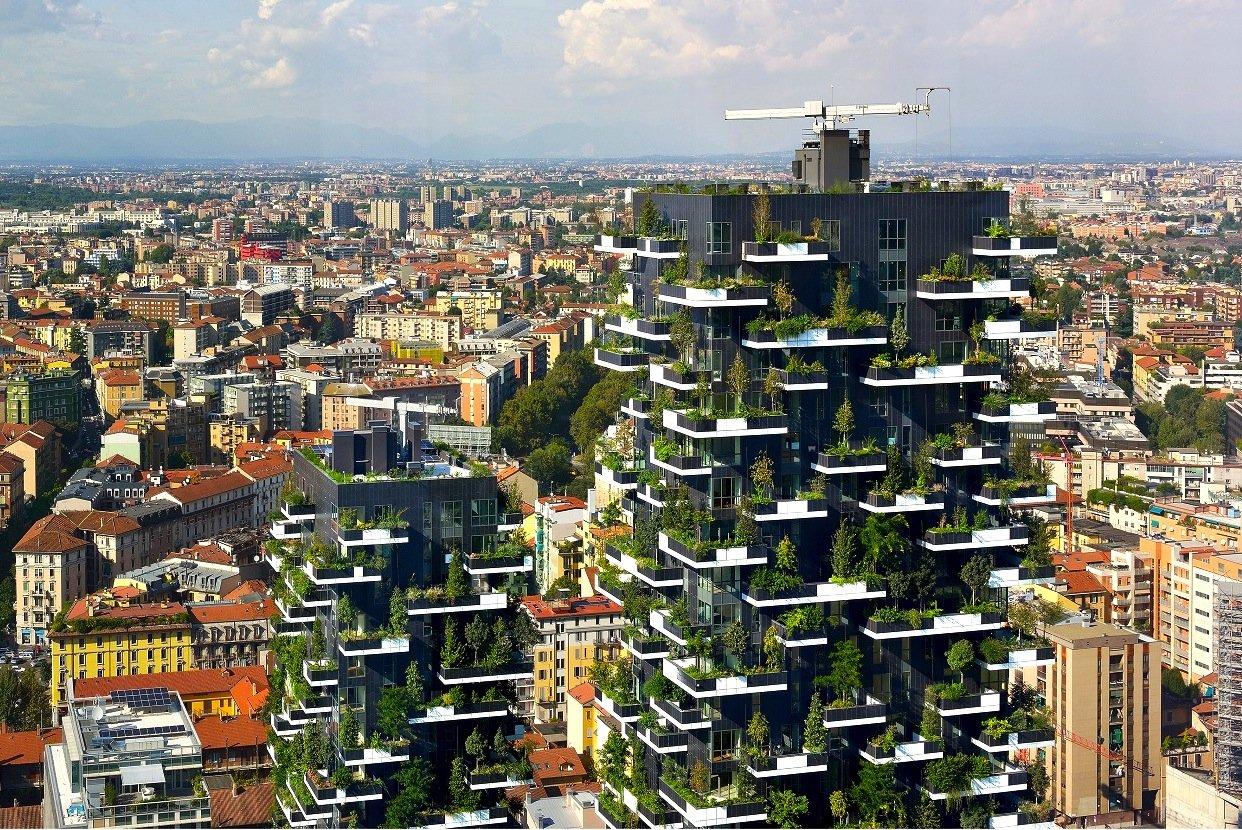 Die beiden Bosco-Türme in Mailand sind schon realisiert. An ihren Außenfassaden wachsen fast 1000 Bäume.