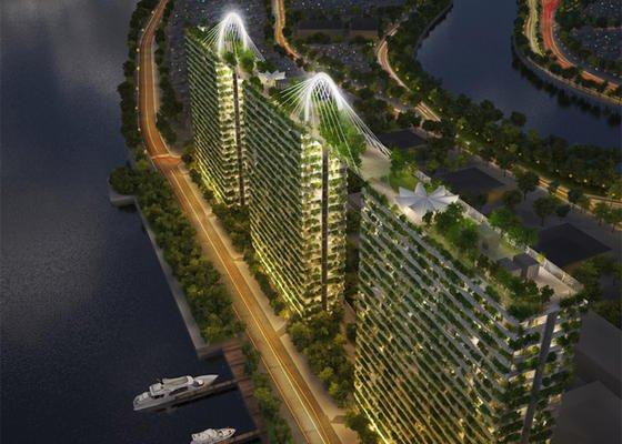 Hochhausprojekt inHo-Chi-Minh-Stadtmit riesigem Dachgarten, der sich über drei Türme erstreckt: Immer mehr Architekten entwerfen Hochhäuser, in denen Parkanlagen und mitunter sogar kleine Wälder gleich integriert sind. Ingenieur.de stellt einige der grünsten Hochhauser der Welt vor.