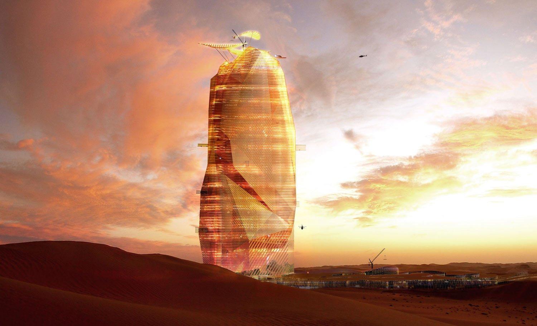 Illustration des City Sand Towers: Das futuristische Hochhaus könnte mit verdampfendem Regenwasser Generatoren antreiben und sich selbst mit Strom versorgen.