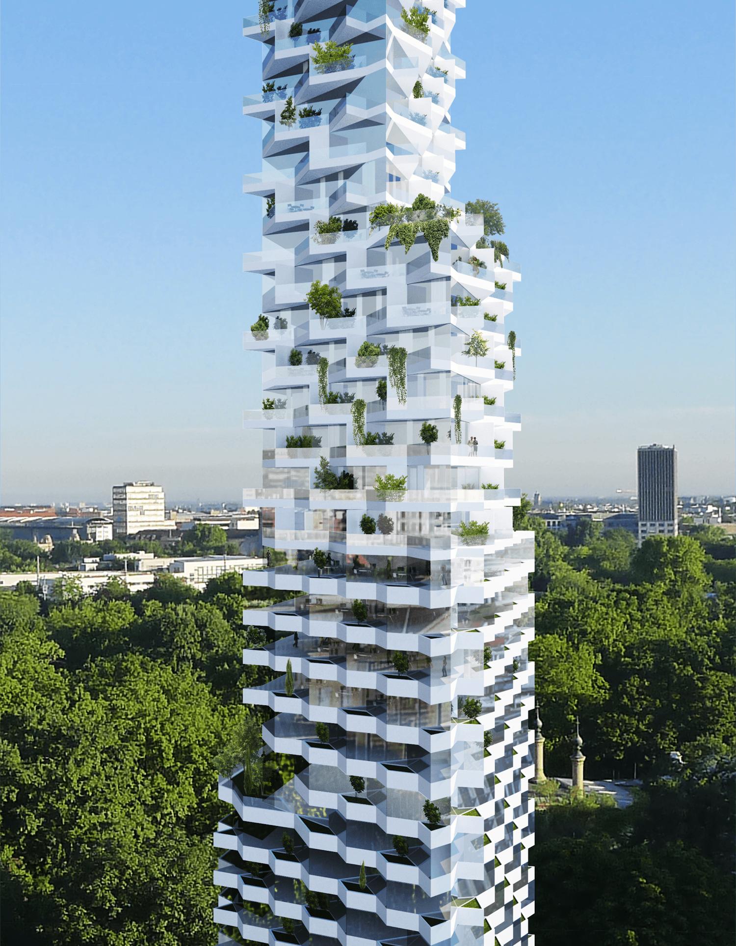 Eine Besonderheit des Hardenbergs sollen die vielen begrünten Terrassen, Loggien und Stadtbalkone sein, die dem Gebäude die Erscheinung eines vertikalen Gartens geben.