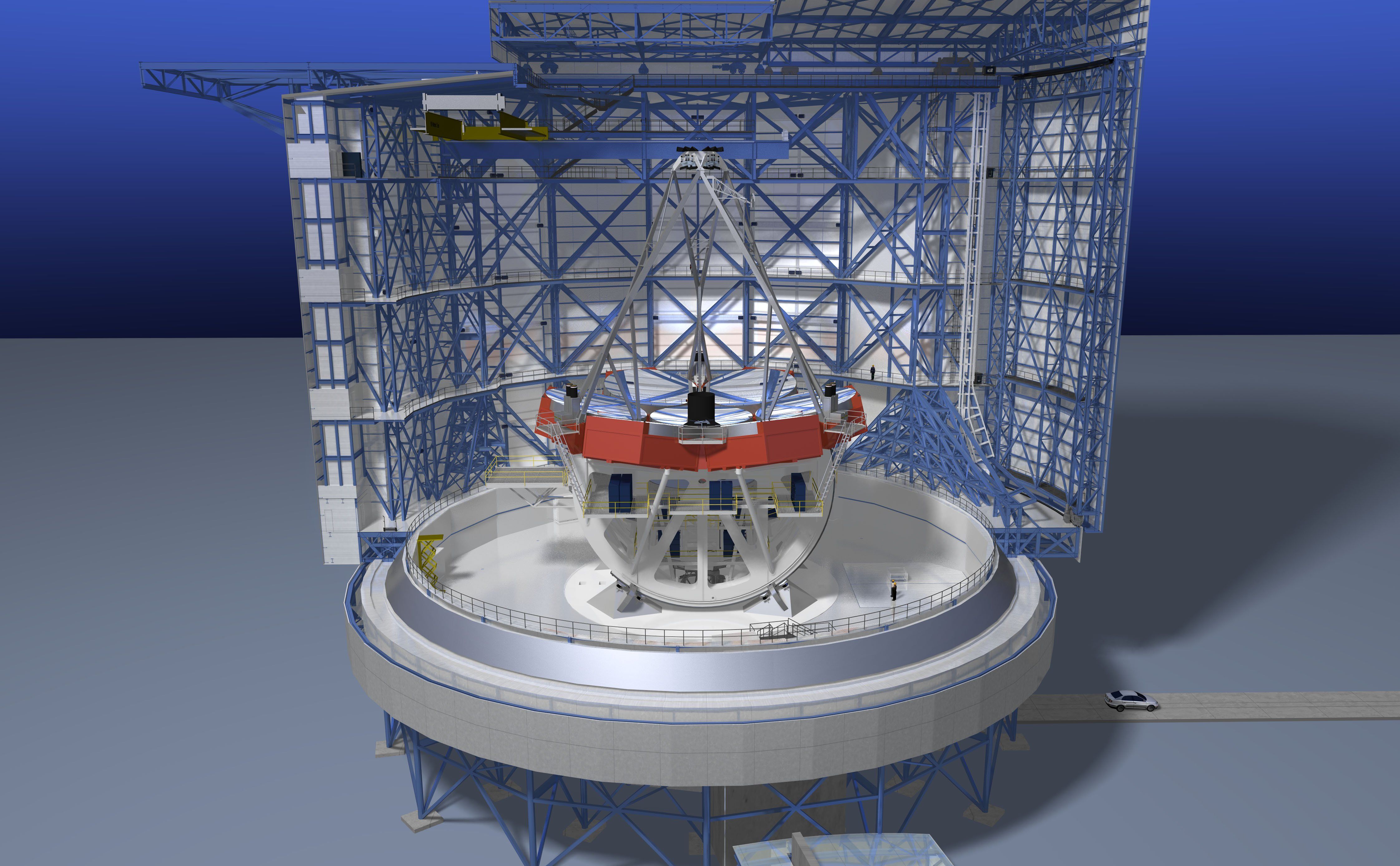 Jeder der sieben Spiegel wiegt 17 t. Die Oberfläche dieser Riesenspiegel werden nanometergenau geschliffen.