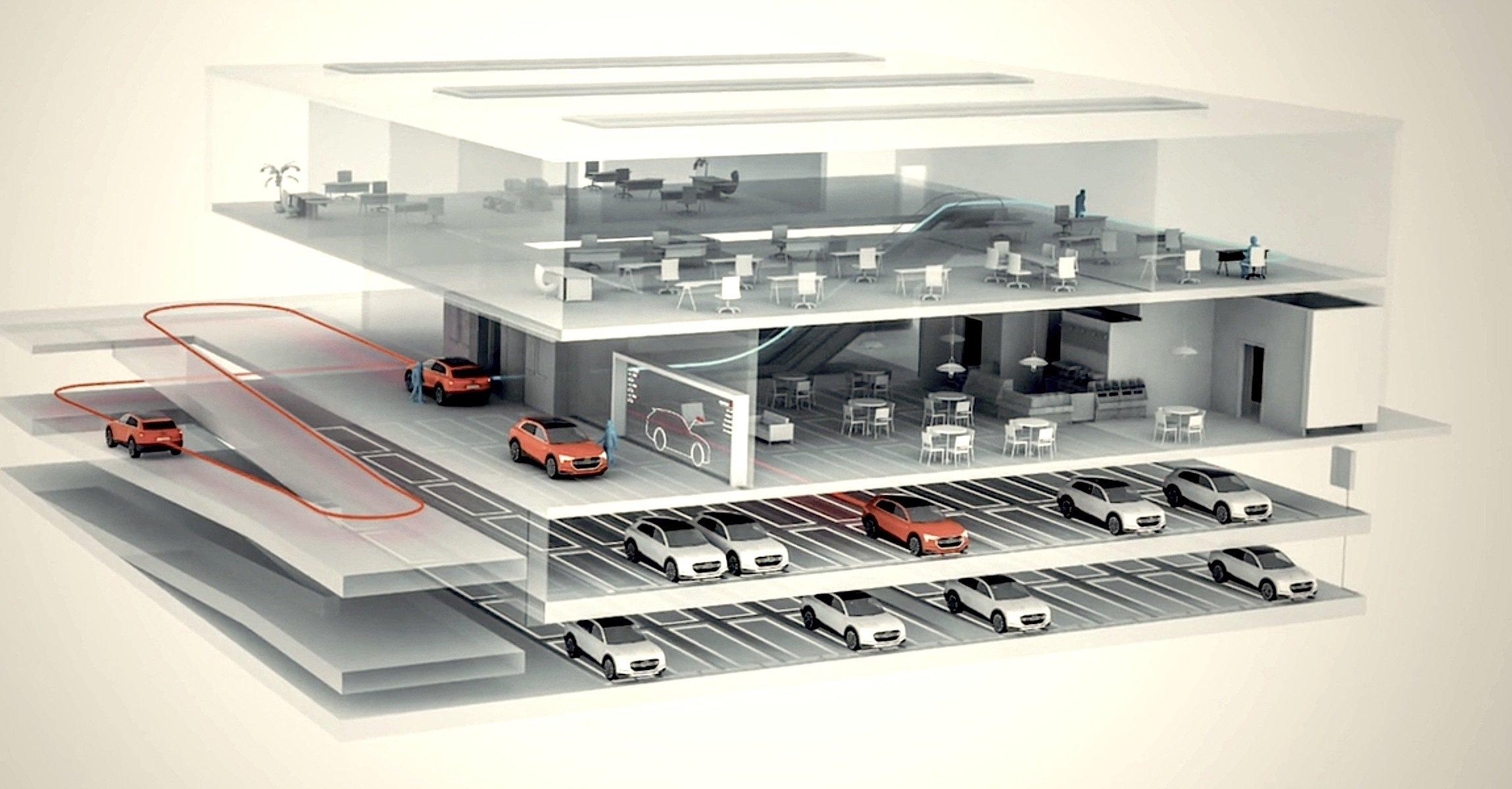Arbeitsplatz und Auto unter einem Dach: Auch in Zukunft spielt das Auto in Audis Visionen eine zentrale Rolle. Dank pilotiertem Einparken soll der Platzbedarf so stark sinken, dass das Auto gleich neben dem Arbeitsplatz steht.