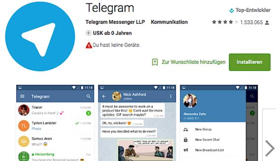 Völlig kostenlos bietet Telegram seinen Dienst an.