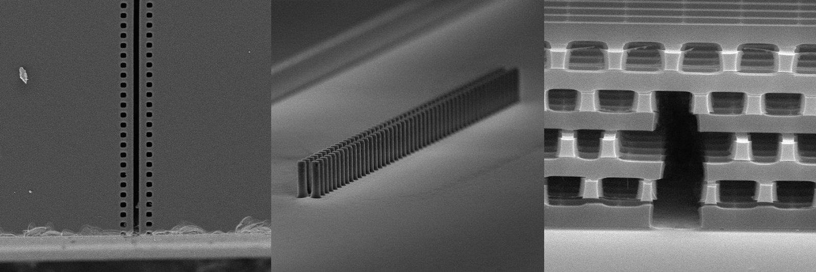 Beispiele für Nanostrukturen, die für den Miniaturbeschleuniger untersucht werden.