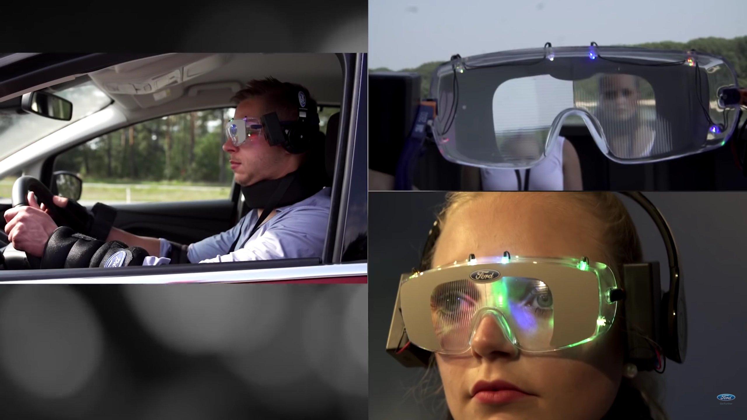 Auch das Blickfeld eines Autofahrers ist unter Drogen stark eingeschränkt. Außerdem kann man die Umgebung oft nur noch verzerrt sehen. Das simuliert die spezielle Brille.