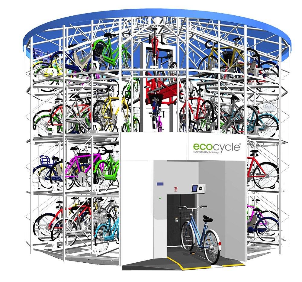 Ein solcher Fahrrad-Park-Turm braucht nur 6 % der Fläche, die benötigt würde, wenn die Räder nebeneinander abgestellt werden.