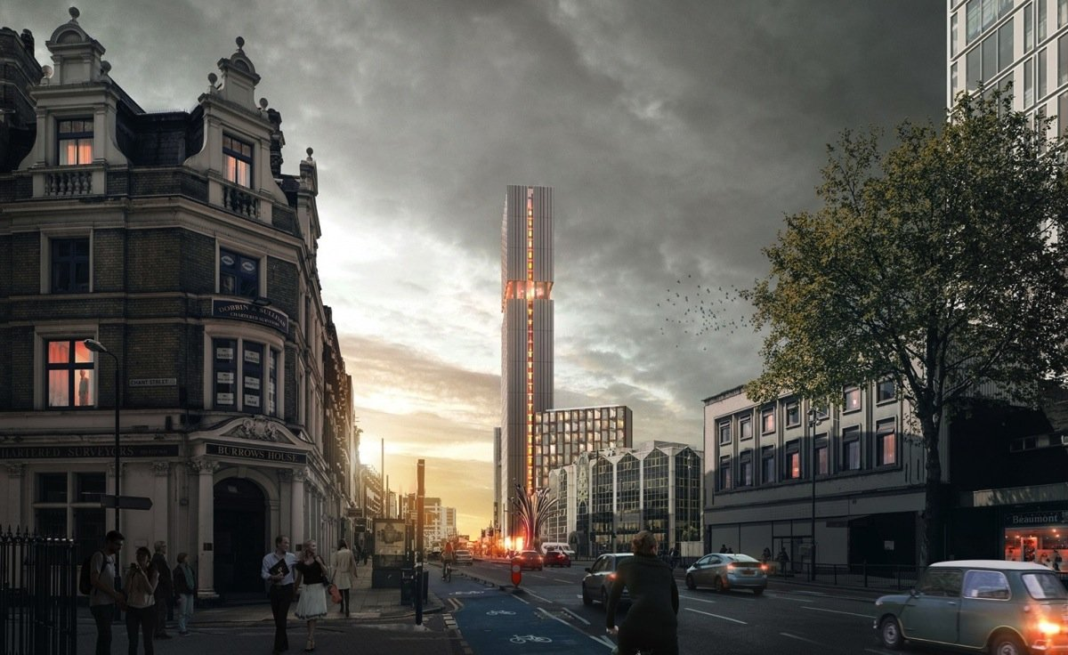 Der gläserne Wohnturm ist 112 Meter hoch geplant und soll 30 Stockwerke umfassen.