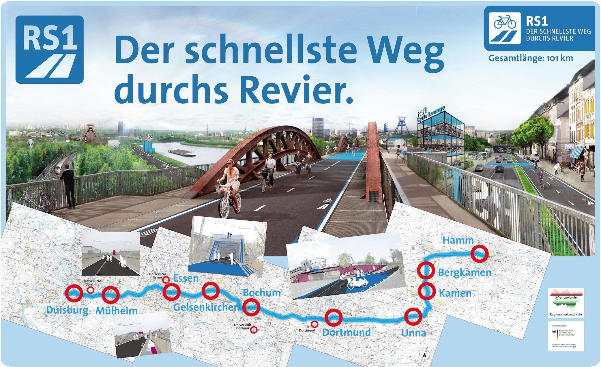 Der Radschnellweg Ruhr soll im Endausbau 101 km lang sein und einmal quer durch das Ruhrgebiet führen – kreuzungsfrei auf eigener Trasse. Wie eine Autobahn.