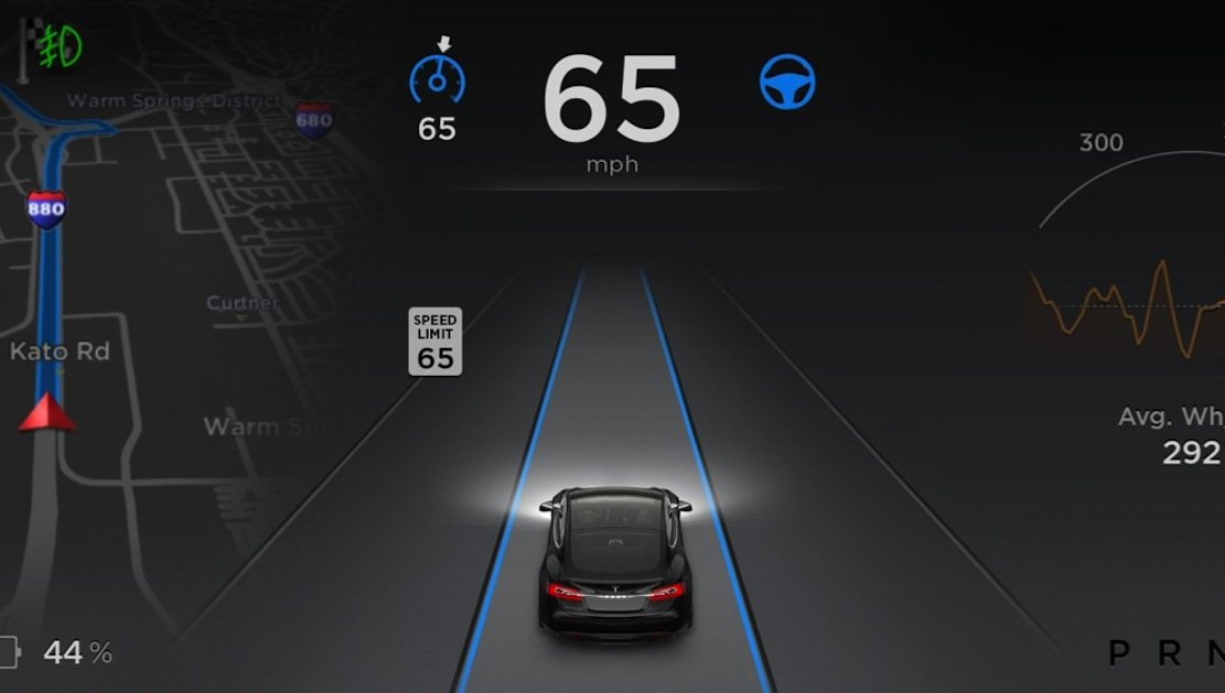 Der Autopilot arbeitet mit Radar- und Ultraschallsensoren sowie einer Frontkamera. Das Fahrzeug kann dadurch selbstständig die Spur wechseln.