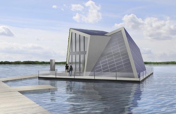 So stellen sich bislang wohl die wenigsten ein Hausboot vor. Fraunhofer Forscher schon. Genauso so sieht nämlich der Gebäudeentwurf eines schwimmenden Hauses aus, das sich selbst mit Wärme und Wasser versorgt. Und nächstes Jahr soll es gebaut werden.