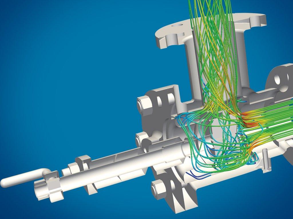 Simulation einer Flüssigkeitsverteilung mit der Simscale-Software.