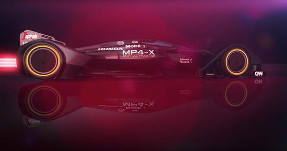 So stellt sich McLaren die Zukunft des Rennsports vor: Bei der Studie MP4-X hat die Karosserie ein Formgedächtnis, die Reifen sind gekapselt, der Fahrer durch eine Scheibe geschützt und das Auto voller Sensoren, die den Teams die Möglichkeit geben, noch stärker von außen das Auto zu beeinflussen.