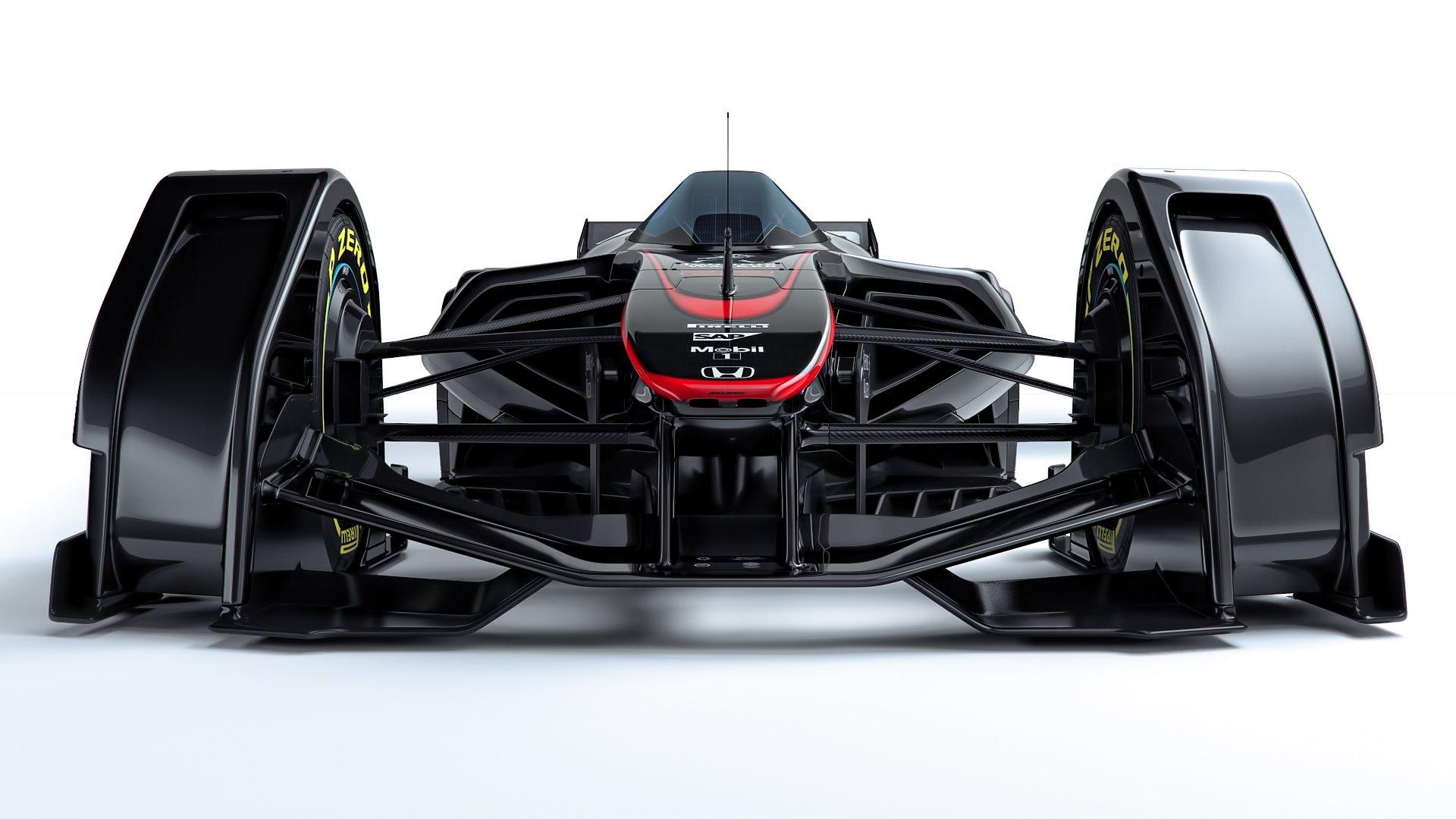 McLaren-Studie MP4-X von vorne: Deutlich zu sehen sind die gekapselten Räder, die dadurch besser vor Berührungen geschützt sind. In der Mitte ist das Cockpit zu erkennen mit Frontscheibe, die den Fahrer schützen soll.