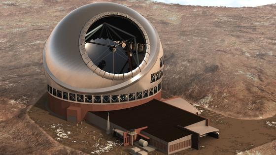 Illustration des Thirty Meter Telecope auf Hawaii: Es soll eines der größten Telekskope der Welt werden. Allerdings haben die Ureinwohner Hawaiis jetzt einen Baustopp durchgesetzt.