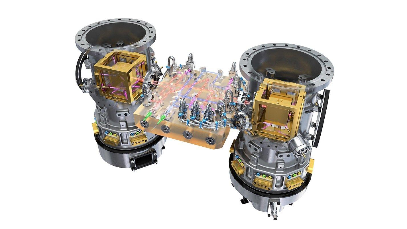 Messapparatur der Lisa Pathfinder: Ein Laser misst kontinuierlich den Abstand zweier schwebender Würfel.
