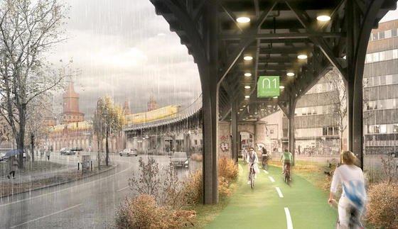 Eine Radbahn unter der U1 in Berlin würde auch bei strömendem Regen trockenes Radeln ermöglichen. In einer Machbarkeitsstudie will der Senat nun klären, wie sich solch eine 9 km lange überdachte Fahrradstrecke realisieren lässt. Die Voraussetzungen sind gut: Dach und Flächen sind schon da.
